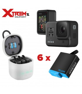 GoPro Hero 8 Black + Power Kit Telesin, Incarcator Si 6 Baterii